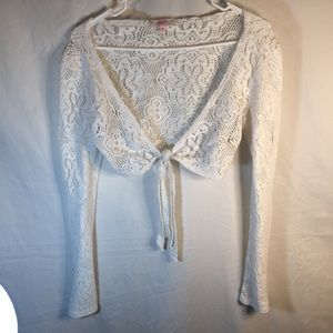 Size Large Candies White Lace Look Crop Blouse!